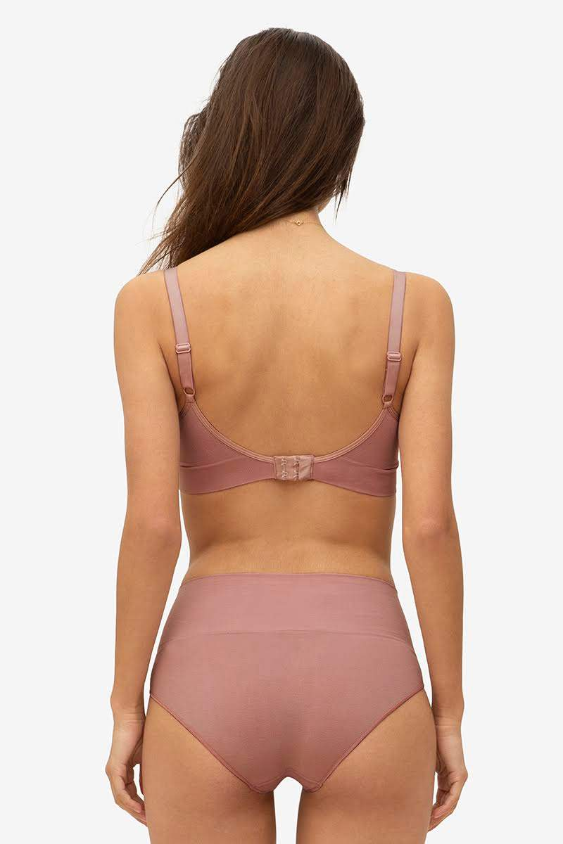 Brown/purple nursing bra with a click opening in - Breastfeeding accessOrganically grown bamboo - Seen from behind