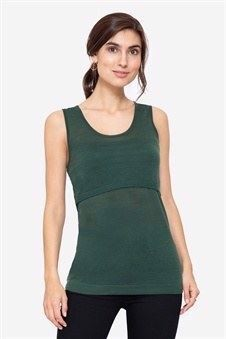 Dark green nursing top - 100% wool, front view
