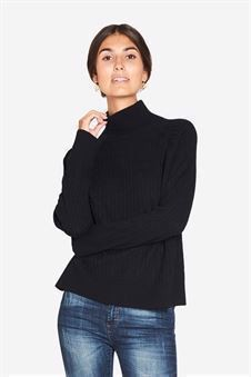 Black roll-neck nursing blouse with long sleeves
