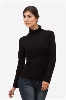 Black nursing top with roll neck