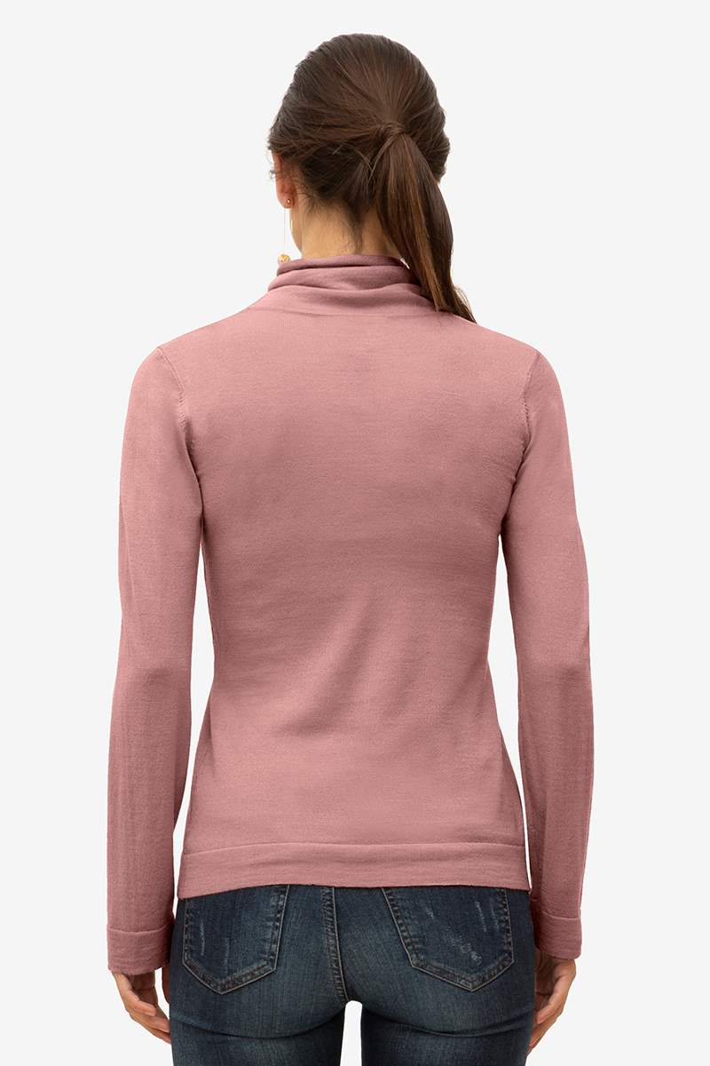Classic roll neck nursing top in brown/purple - Seen from behind