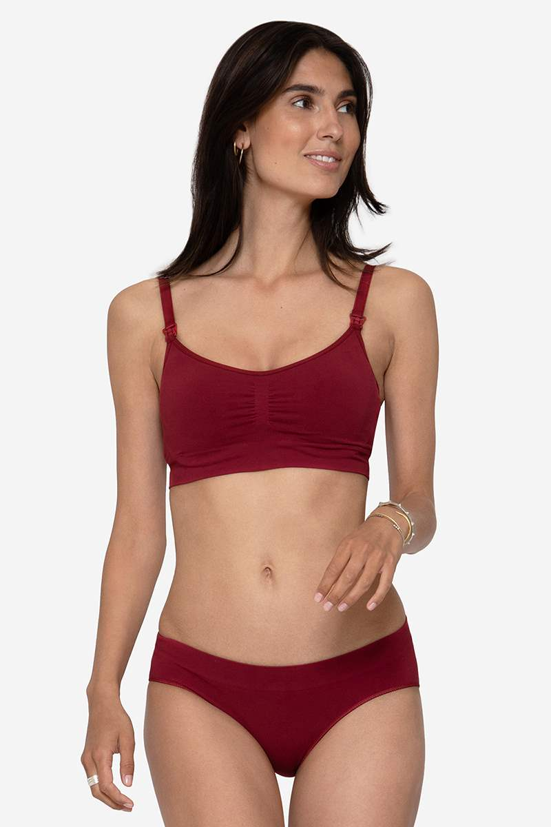 Red maternity panties in soft bamboo fibres - Organically grown - As a set