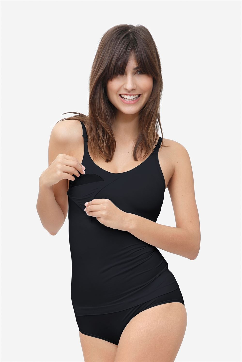 Black nursing top with built-in bra in Organically grown bamboo - With breastfeeding access