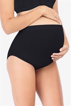 Soft black maternity panties made of bamboo fibers - Front view