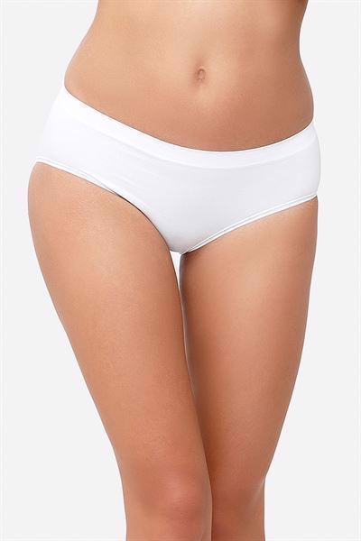 White maternity panties in soft bamboo fibres (Organically grown)- Front view