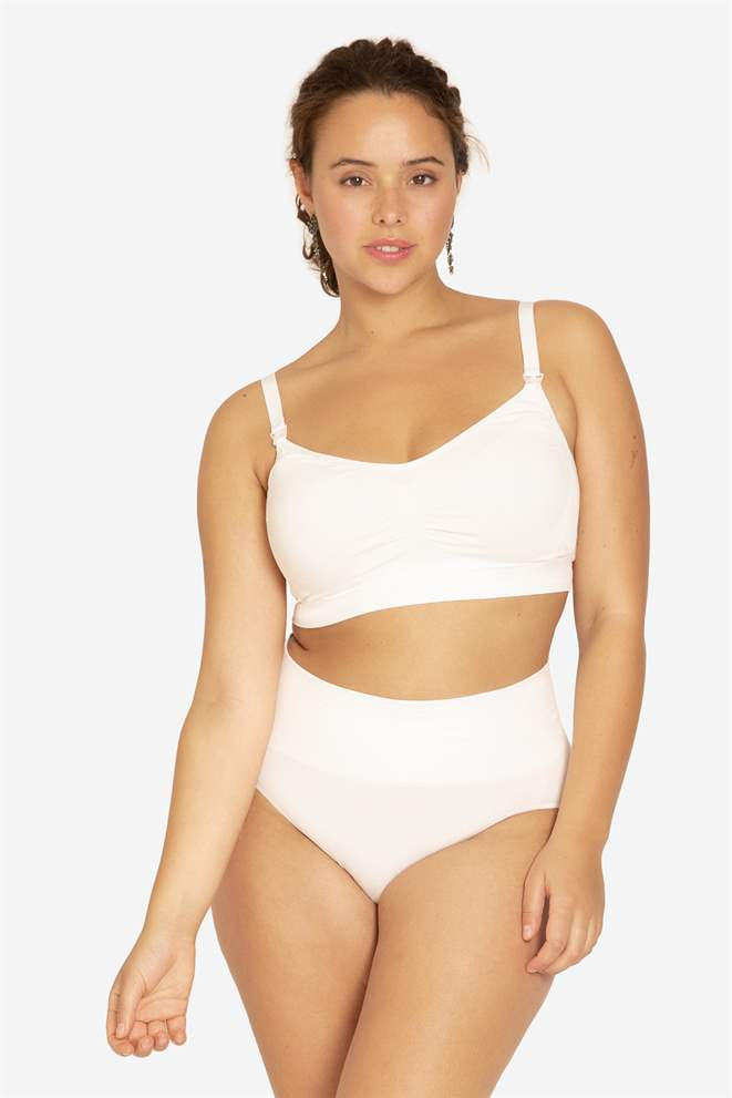 White nursing bra with click opening in Organically grown bamboo - Plus size front