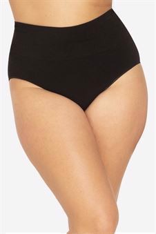 Black pregnancy panties with a high rib in Organically grown bamboo - Seen from behind