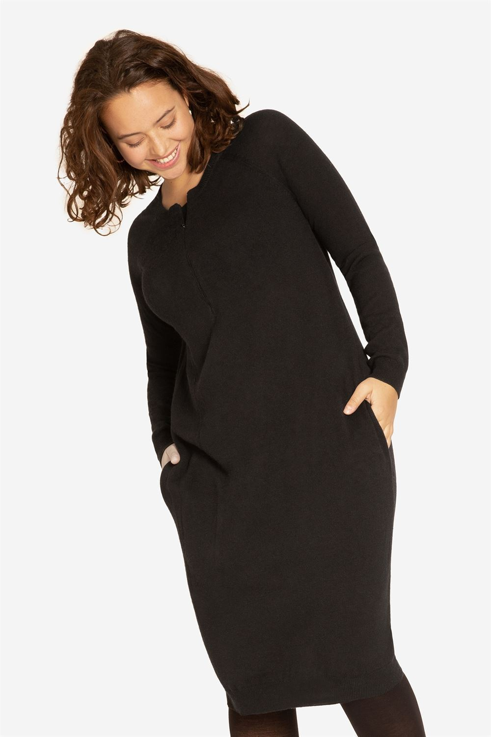 Black nursing dress with pockets and zipper nursing opening - on plus size model