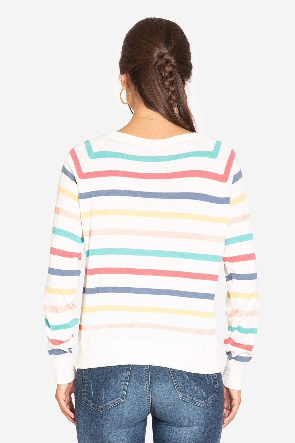 Striped nursing top in loose fit - seen from behind