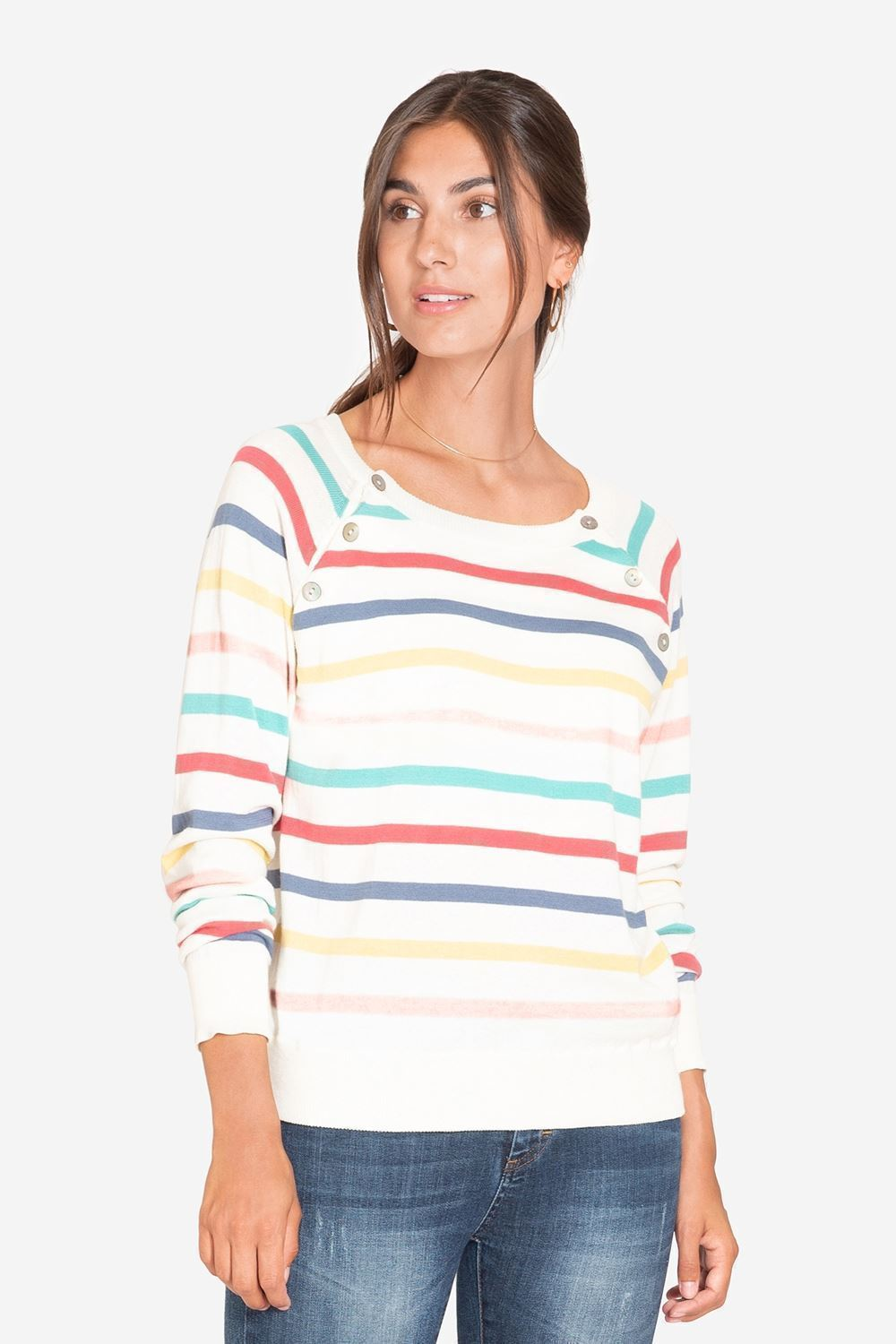 Striped nursing top in loose fit - front view