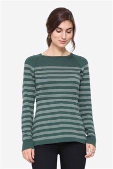 Organic nursing jumper in green stripes, front view
