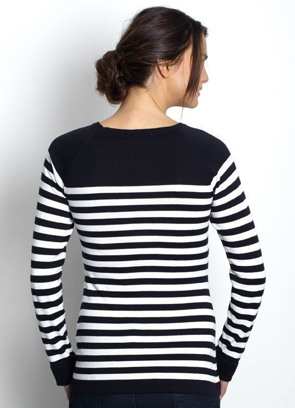 Black/White striped nursing top made of organic cotton knit- a view of the back