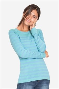 Green/blue striped nursing shirt made of organic cotton knit - a front view
