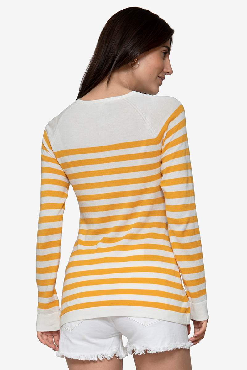 w striped nursing Jumper in organic cotton knit, seen from behind