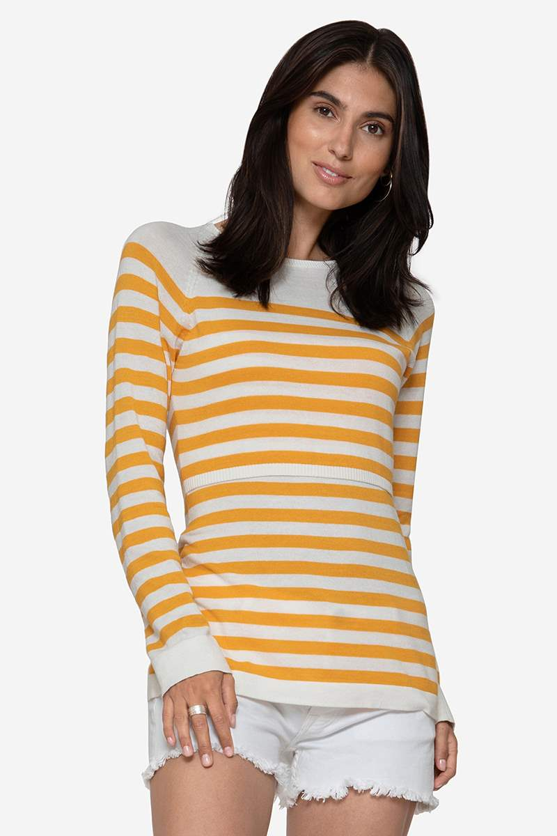 w striped nursing Jumper in organic cotton knit, front view