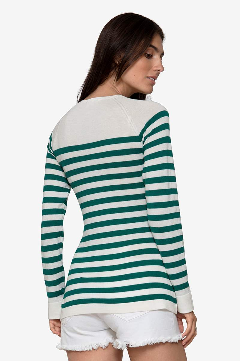 Green striped nursing shirt made of organic cotton knit, seen from behind