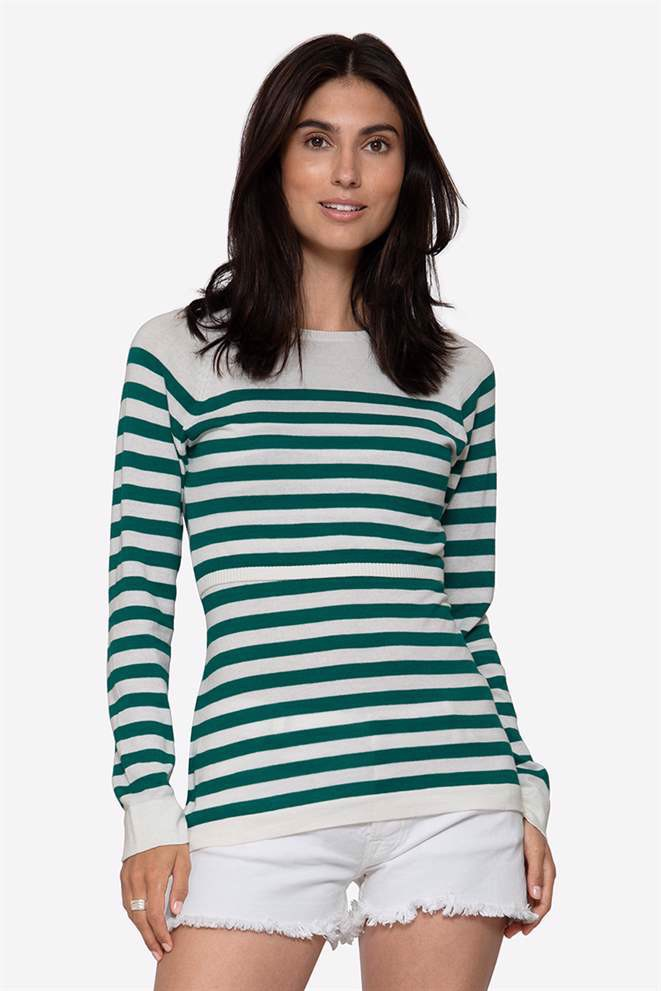 Green striped nursing shirt made of organic cotton knit - front view
