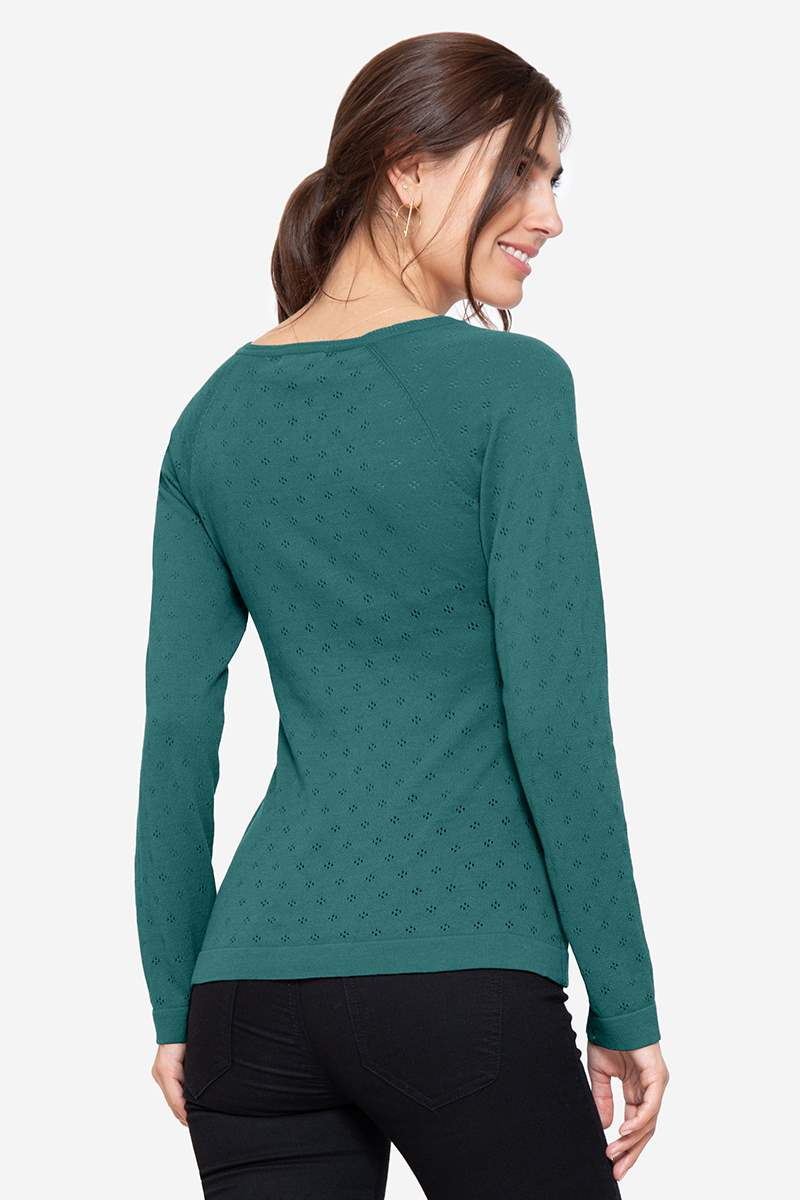 Green colored Nursing Jumper with V-neck - Seen from behind