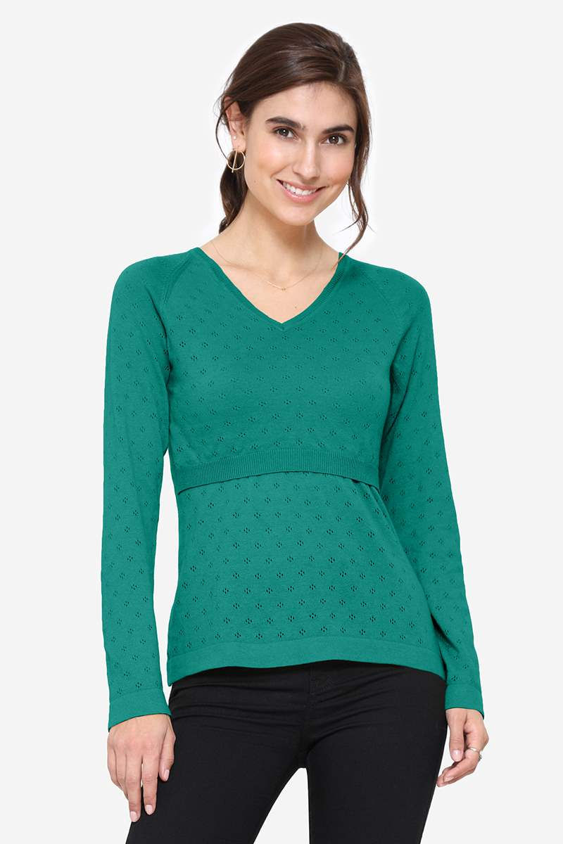 Green colored Nursing Jumper with V-neck - front view