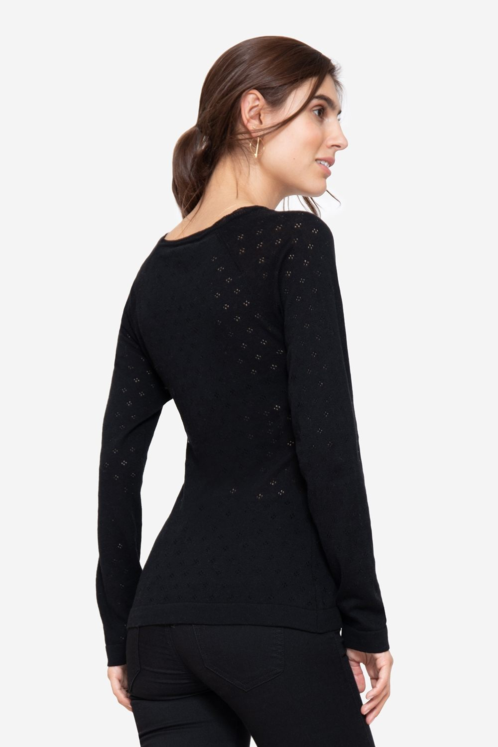 Black nursing jumper with V-neck in Organic cotton, seen from behind