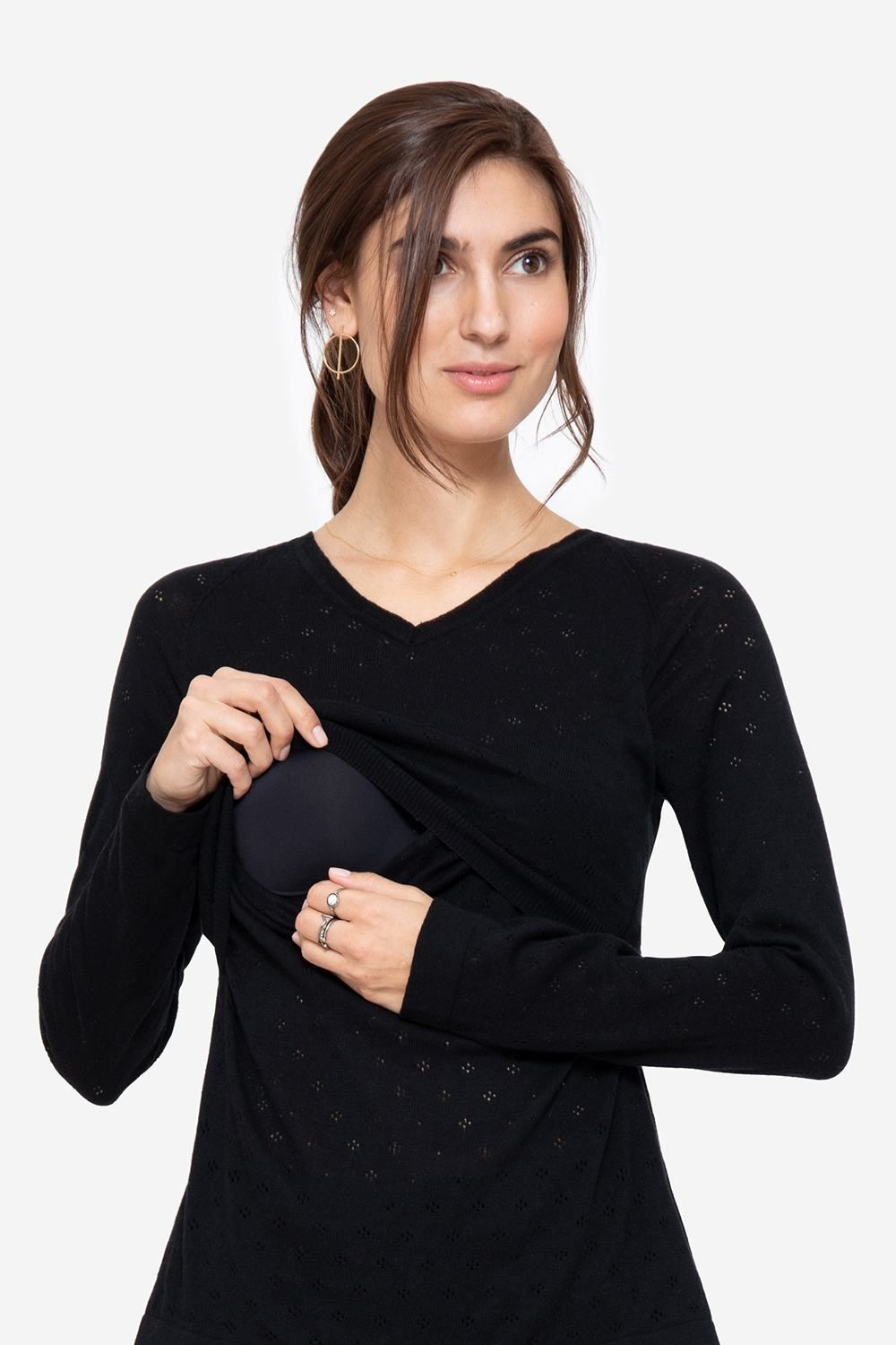 Black nursing jumper with V-neck in Organic cotton, with access for breastfeeding