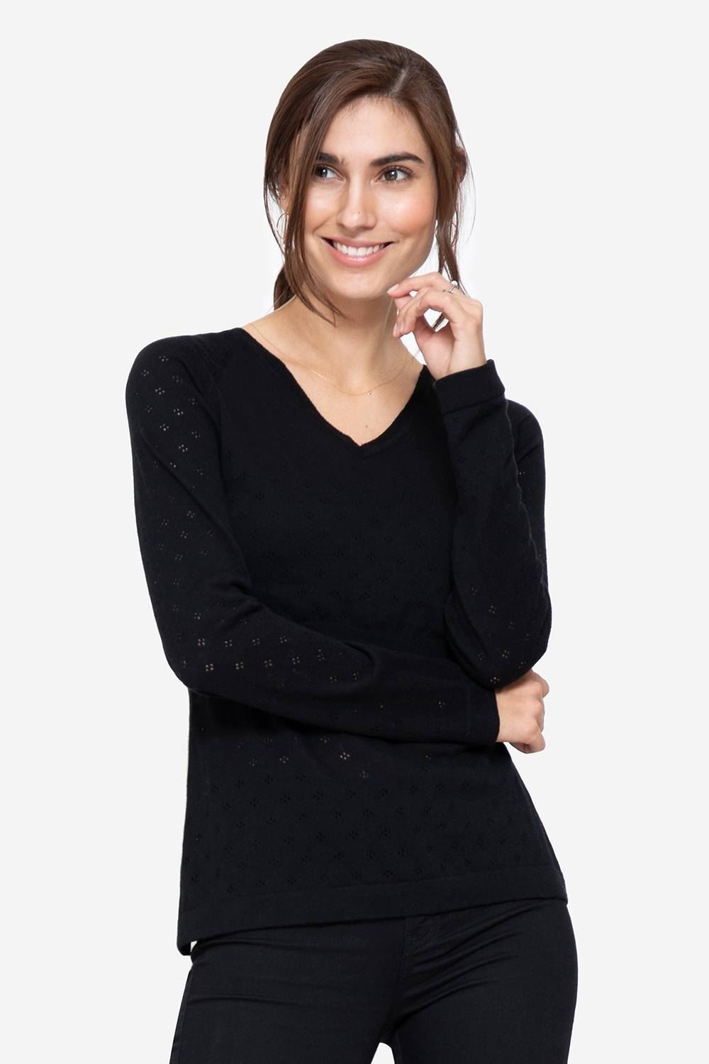 Black nursing jumper with V-neck in Organic cotton, front view