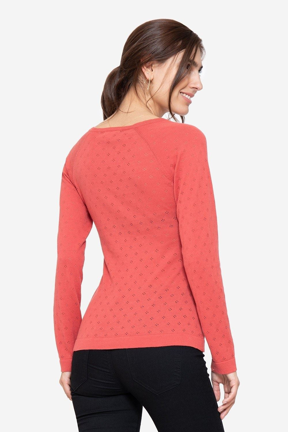 Coral coloured Nursing Pullover with V-neck, seen from behind