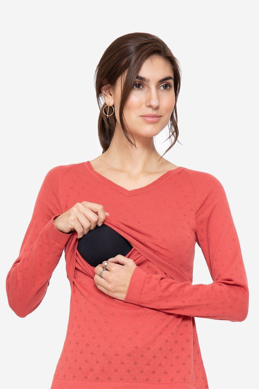 Coral coloured Nursing Pullover with V-neck, with nursing access