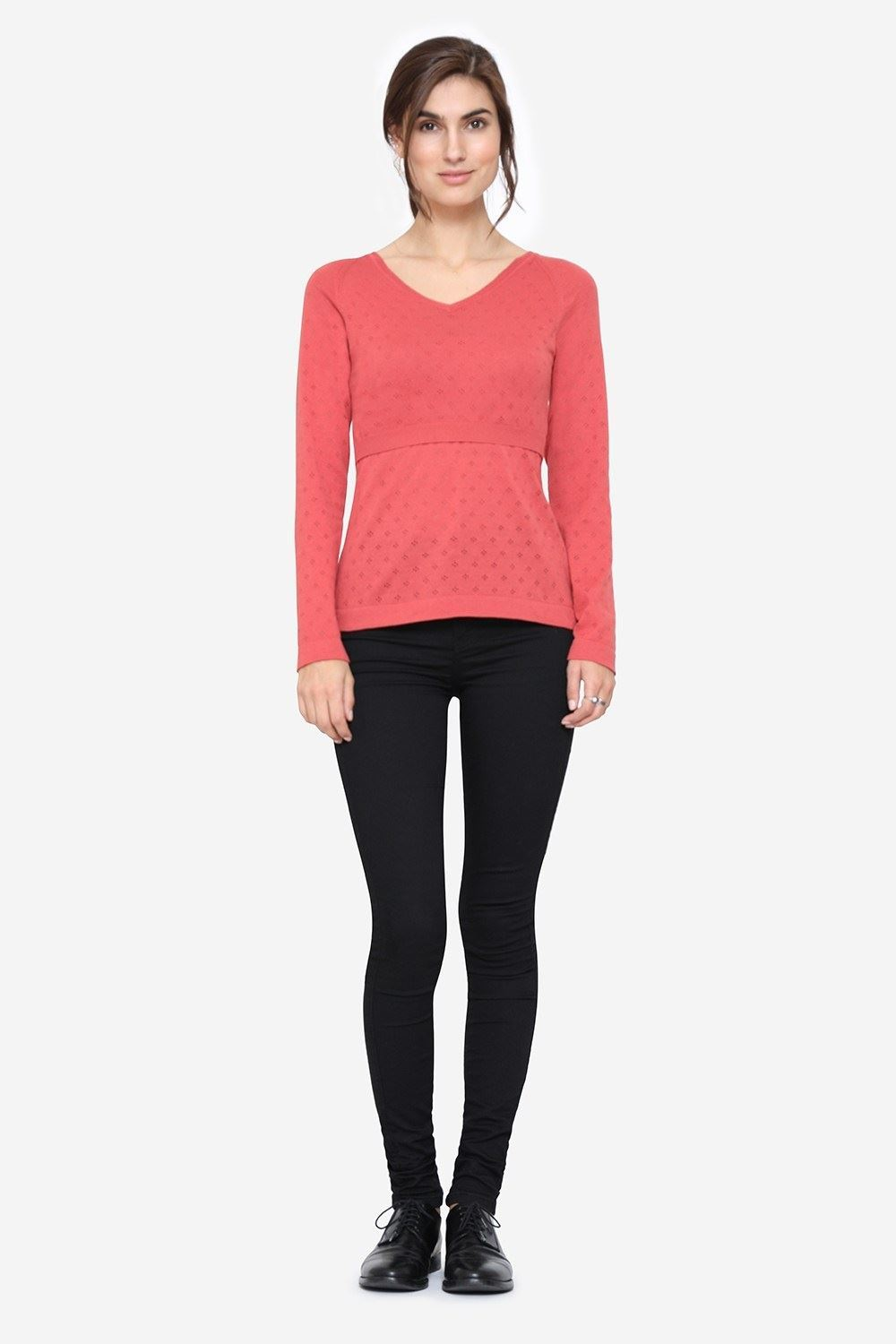 Coral coloured Nursing Pullover with V-neck, full figur