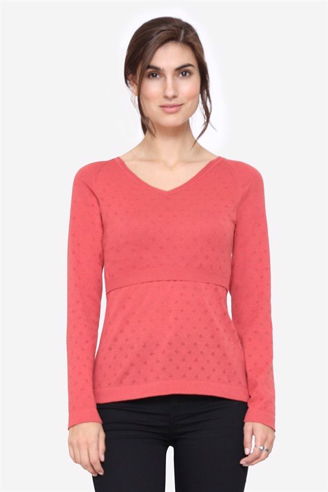 Coral coloured Nursing Pullover with V-neck -  On plus sixe model
