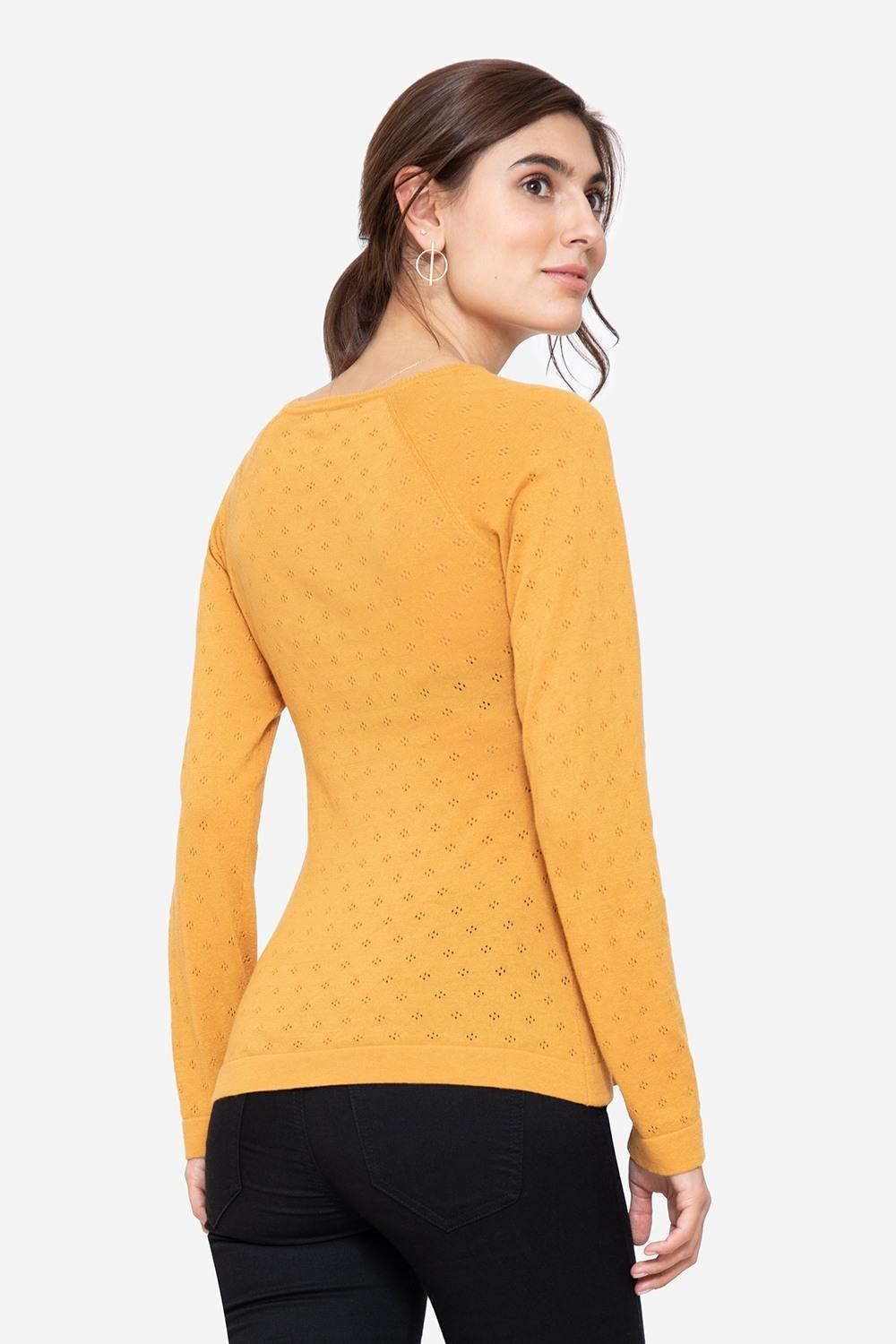 Yellow V-neck nursing jumper in organic cotton, seen from behind
