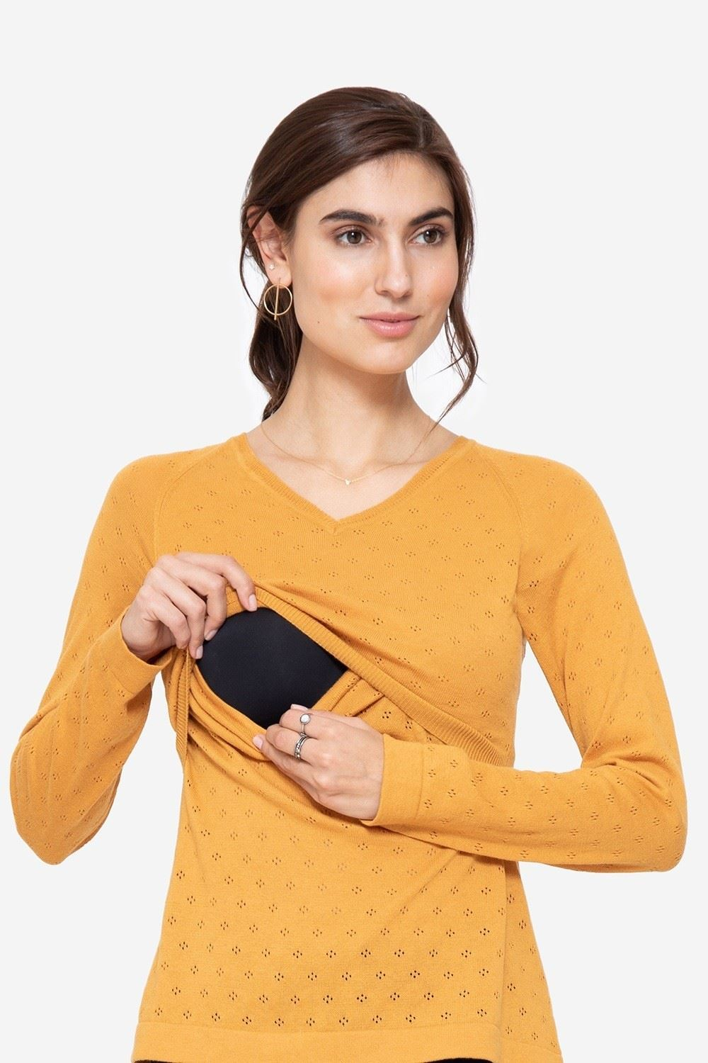 Yellow V-neck nursing jumper in organic cotton, access for breastfeeding