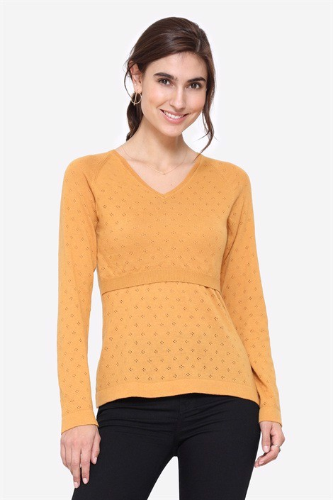 Yellow V-neck nursing jumper in organic cotton, front view