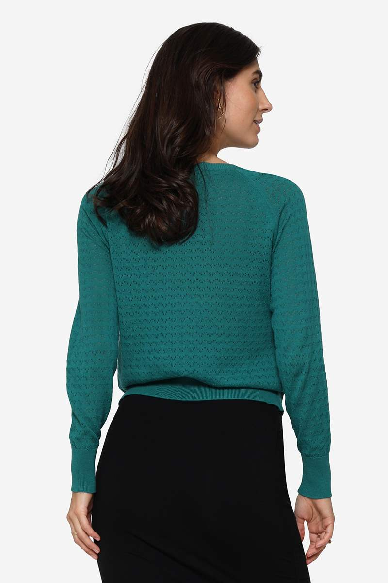 Organic green colored Nursing Jumper with hole pattern - Seen from behind