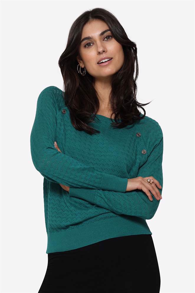 Organic green coloured Nursing Jumper with hole pattern - Front view