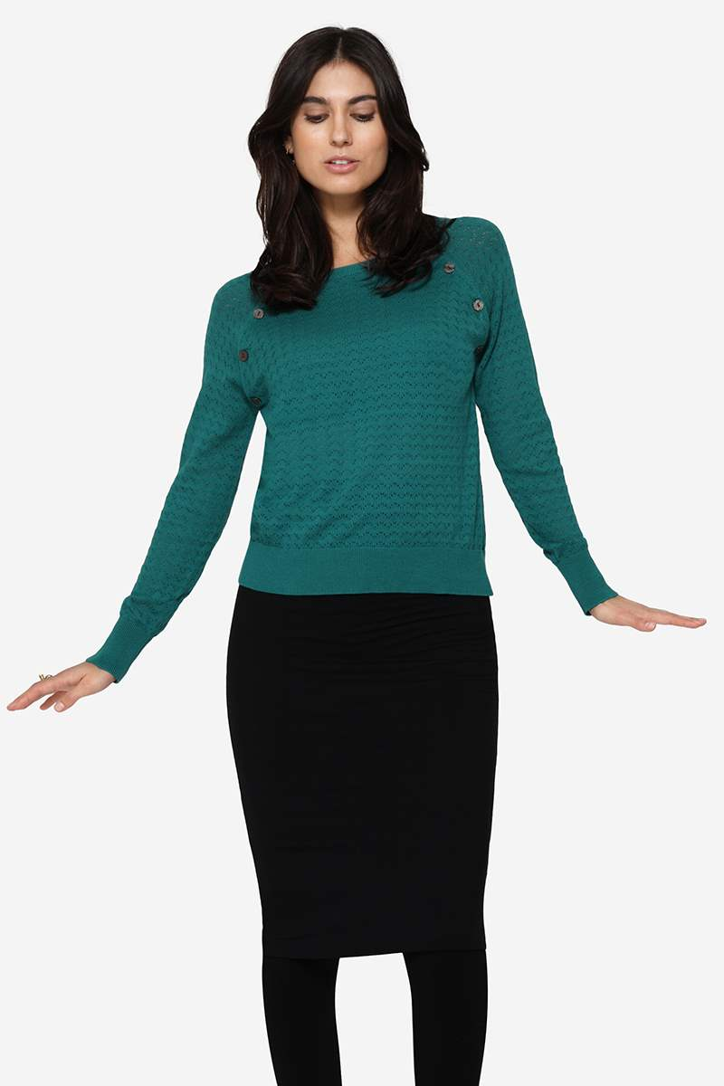Organic green coloured Nursing Jumper with hole pattern - In movement