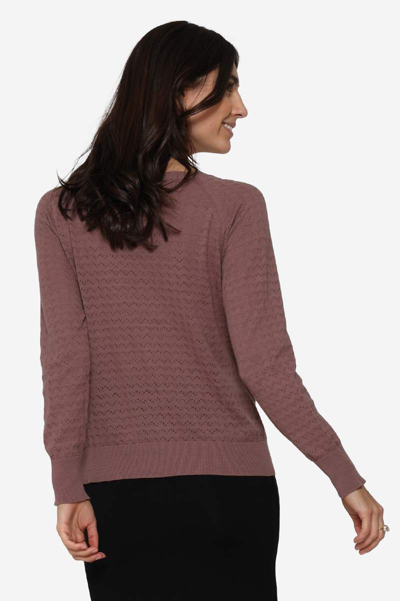 Purple/brown nursing jumper in organic cotton with hole pattern- Seen form behind