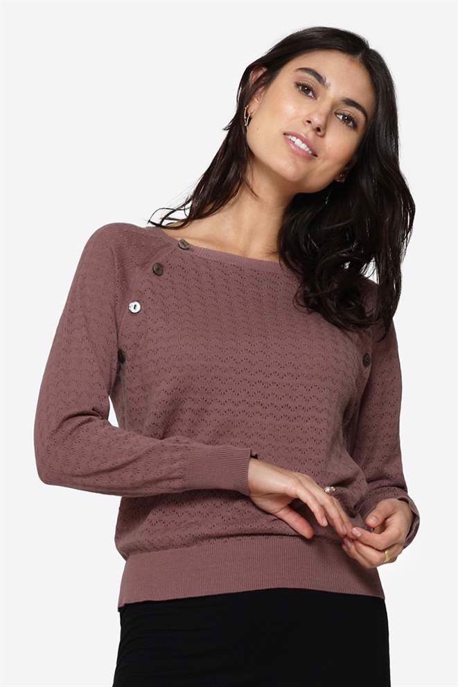 Purple/brown nursing jumper in organic cotton with hole pattern, front view