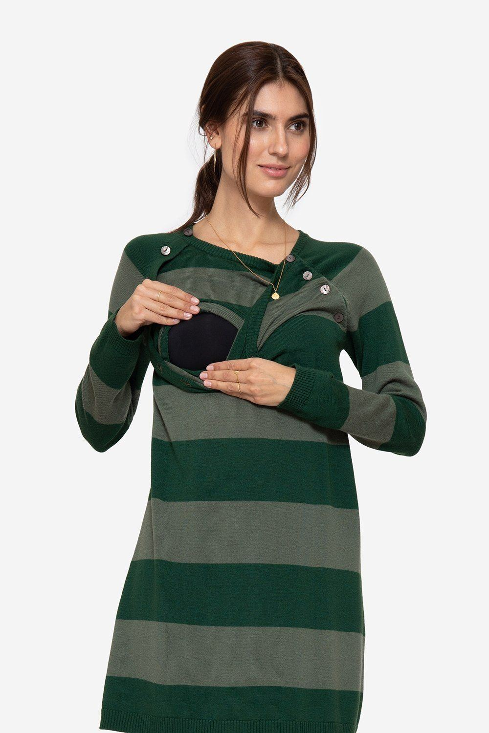 Green striped nursing dress with buttons, nursing access