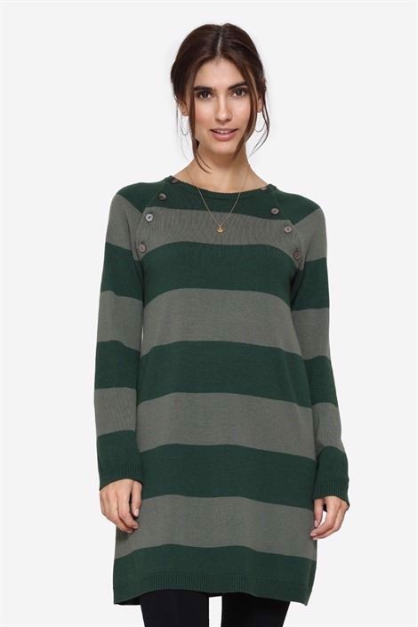 Green striped nursing dress with buttons, front view