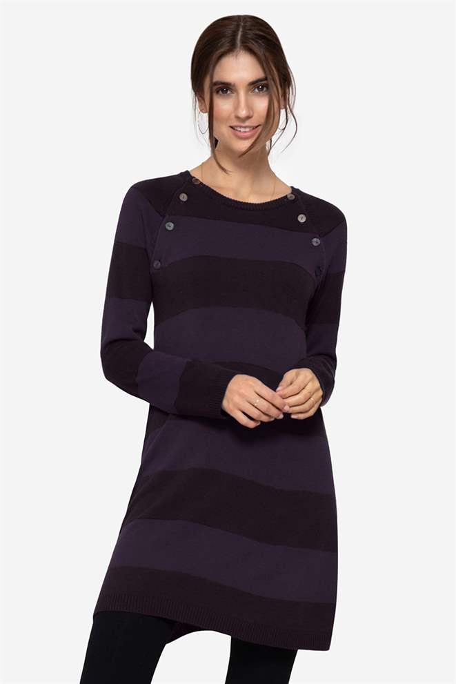 Purple striped nursing dress with buttons - Front view