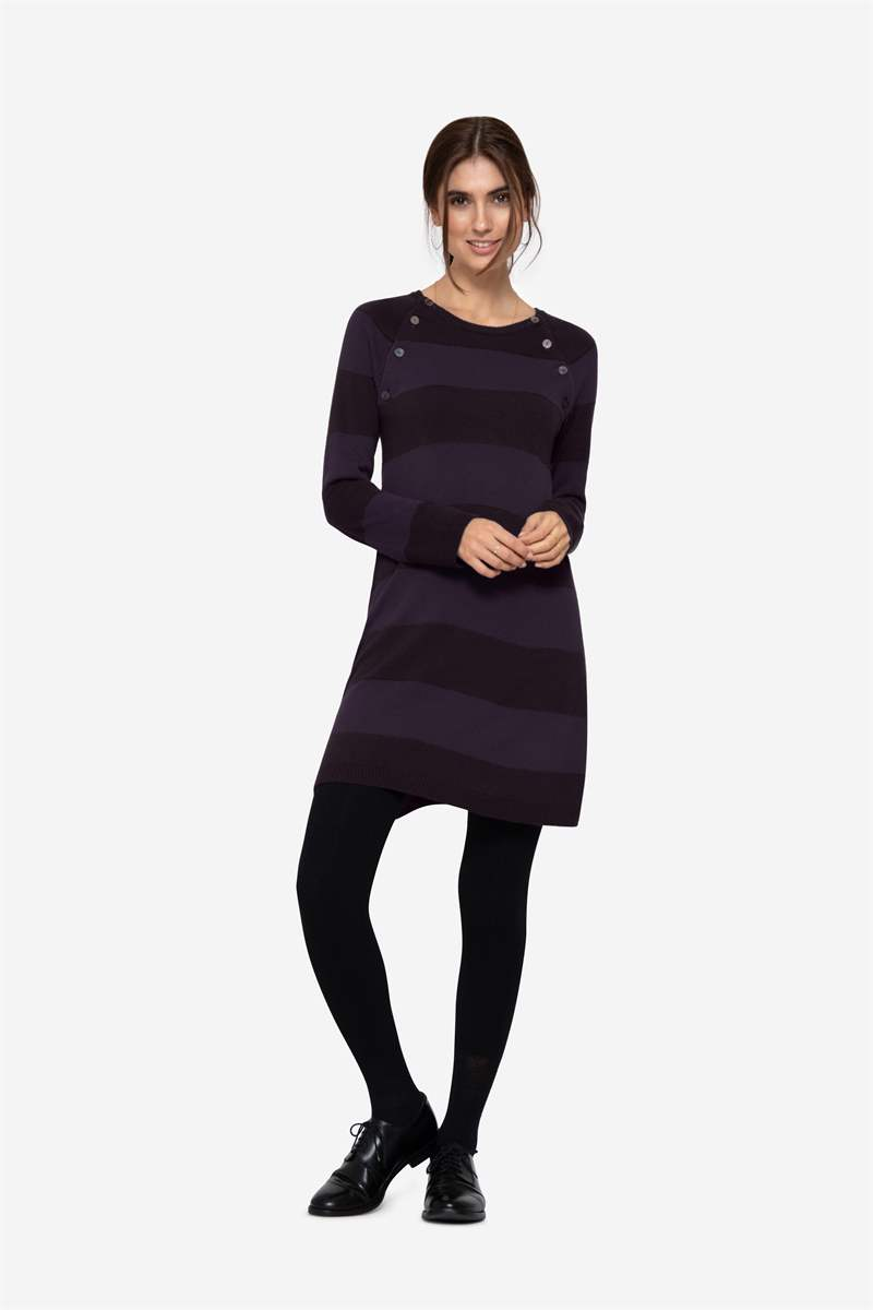 Purple striped nursing dress with buttons - Ful figur