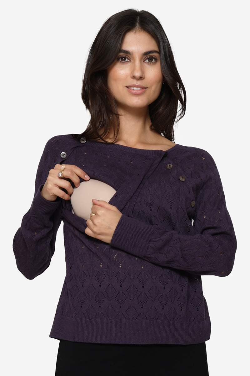 Purple nursing blouse with hole pattern and in Merino wool - Breastfeeding access