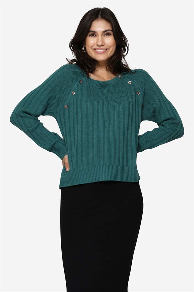 Green nursing jumper in Merino wool and rib knitl - front view
