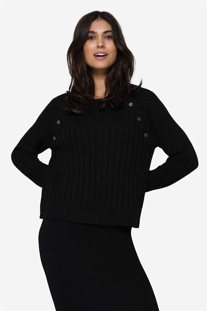 Black nursing blouse in rib knit and Merino wool - Front view