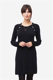 Black nursing dress with buttons. Made of wool/viscose knit