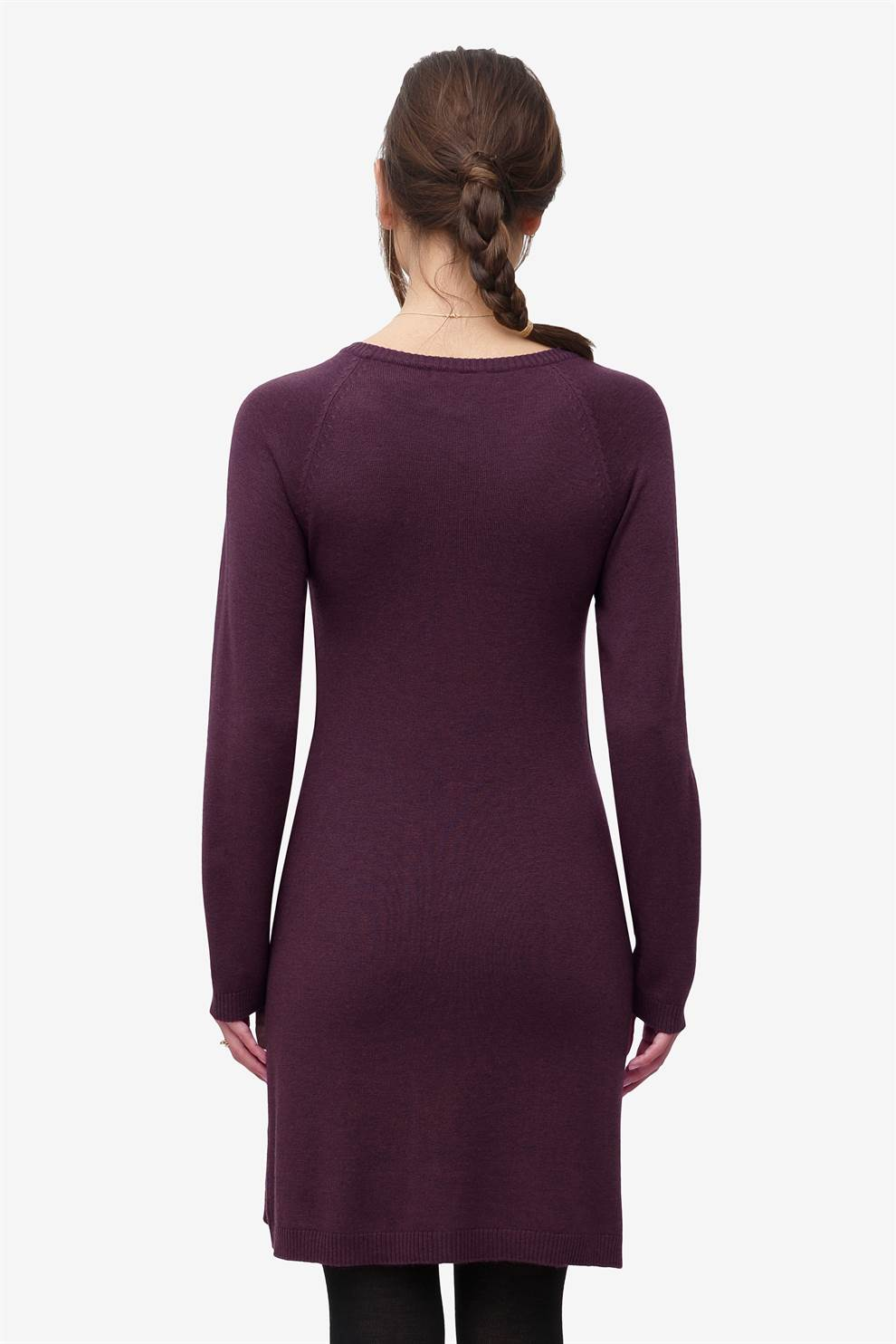 Burgundy nursing dress with button opening  in wool, seen from behind
