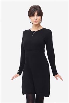 Black nursing dress with round neck - Front view