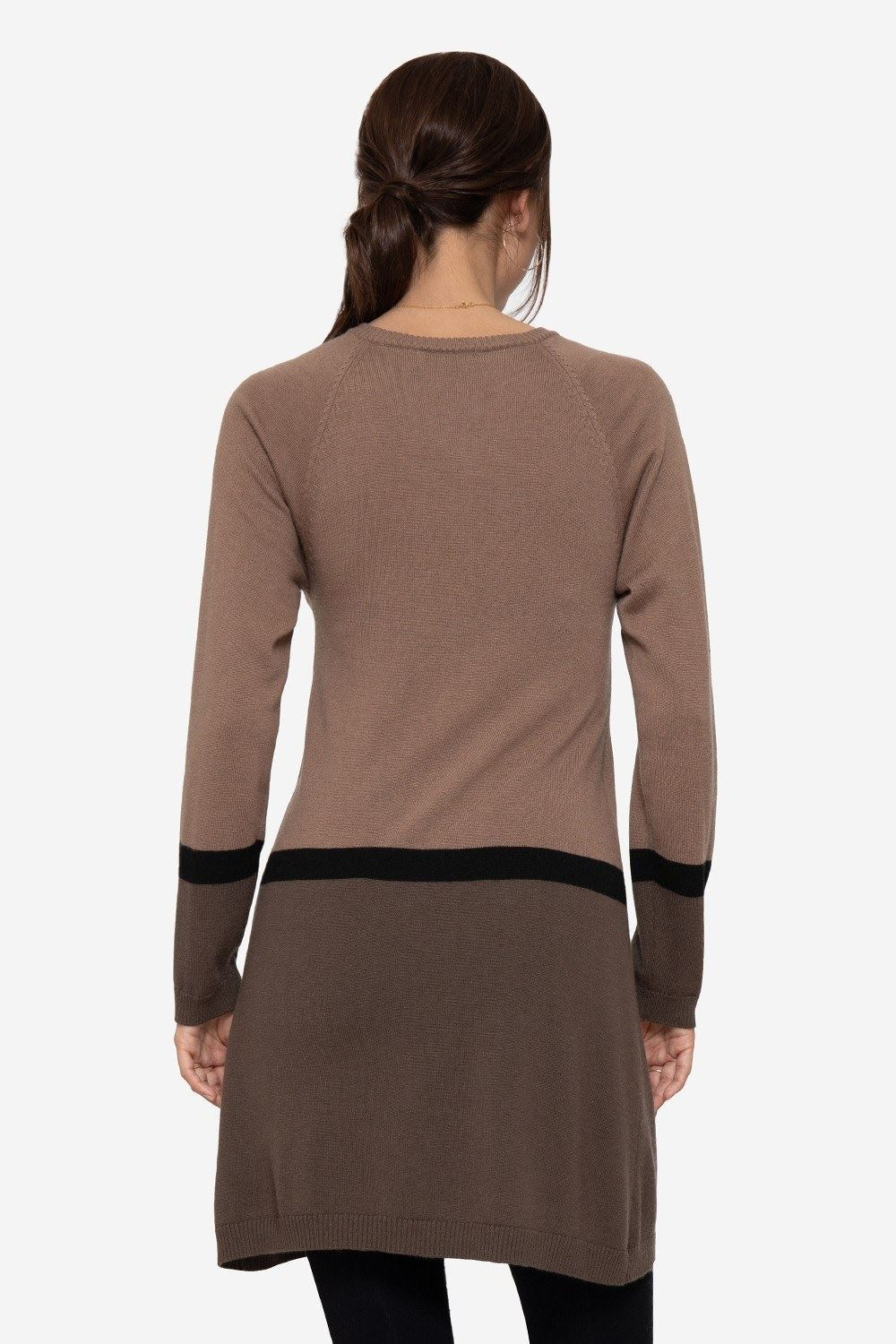 Brown striped nursing dress with dark brown skirt and buttons, seen from behind