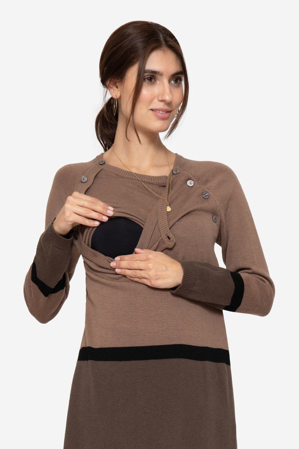 Brown striped nursing dress with dark brown skirt and buttons, with nursing access